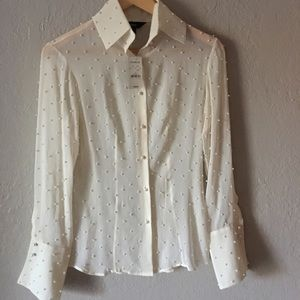 Pearl cream blouse, very stylish and elegant