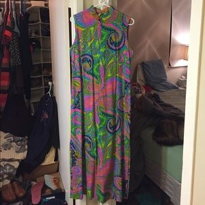 Vintage 1960s psychedelic maxi dress