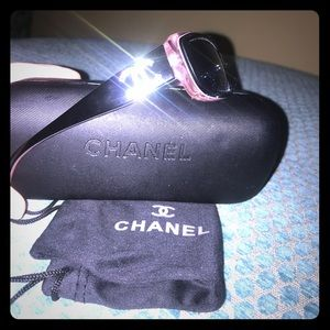 Authentic Chanel Pink and Black Sunglasses