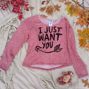 "Red Melange ""I Just Want You"" Sweatshirt"