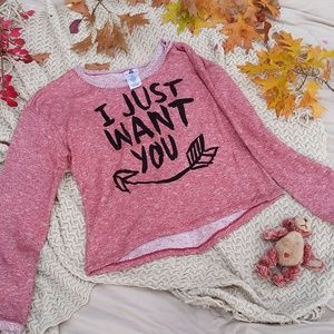 "Jerry Leigh Sweaters - Red Melange ""I Just Want You"" Sweatshirt"