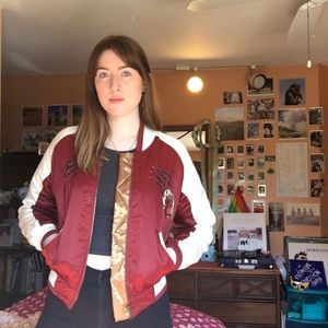 Maroon & gold satin embroidered bomber