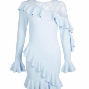 NWT Lace Inset Bodycon Ruffled Dress Sz 2