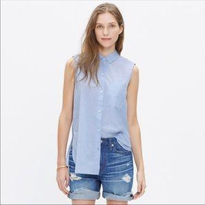 Madewell Sleeveless Composer Shirt Waterfall Blue