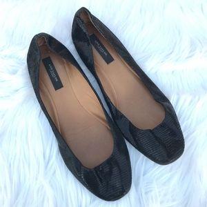 Ann Taylor Shiny Black Printed Slip On Flats