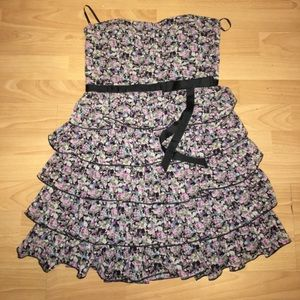earthy floral ruffle tiered strapless mini dress