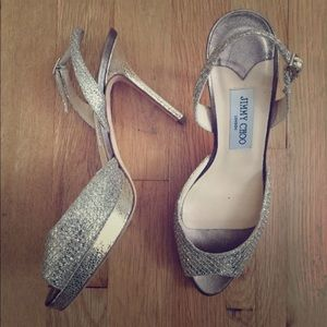 JIMMY CHOO Peep Toe glitter pumps size 38.5