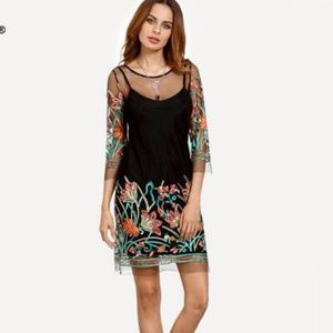 Black Multi Embroidered Illusion Shift Dress Sz 6