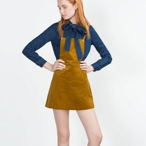 ZARA CORDUROY PINAFORE DRESS