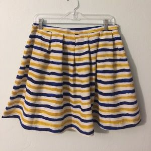 Classic navy, yellow, and white striped skirt
