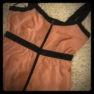 Chic & Strappy Zip Front Mini Dress w/Empire Waist