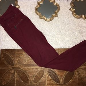 H&M Moto Zipper Burgundy Red Corduroy Pants