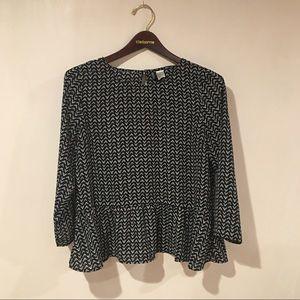 H&M black white poly chiffon blouse top 12/42