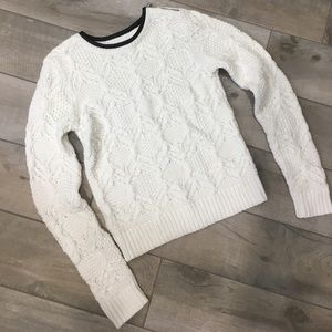 Loft cable zip sweater with faux leather trim