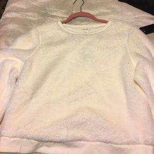 White faux fur crop sweater