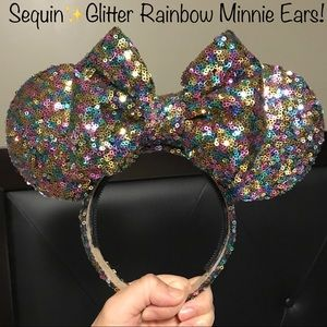 PERFECT WORN ONCE!✨CustomMade Glitter Minnie Ears!