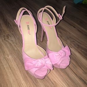Pink platform bow heels! Just Fab.