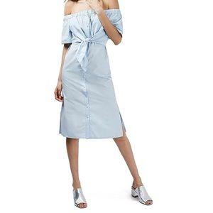 Topshop Blue Off Shoulder Poppin Dress