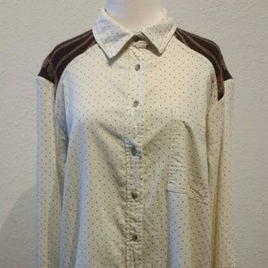 Free People Button Down Ivory Long Sleeve Top