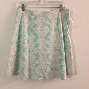 Teal and white geo pattern a-line skirt