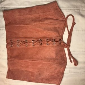 Forever 21 pink suede corset tube top