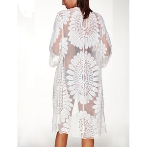 Other - Sexy white floral robe/cover up