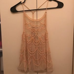 Beaded see through top