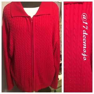 2X - Lightweight Cable Knit Zip Front Sweater
