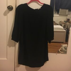Classic black long sleeve shift dress