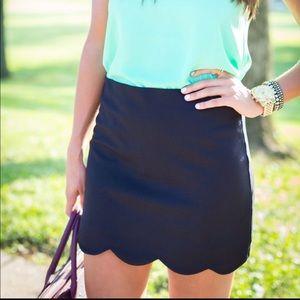 Topshop Scallop Mini Skirt Sz6 Black