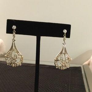 Jewelry - Silver Tone Earrings Rhinestone & Pearl Accents