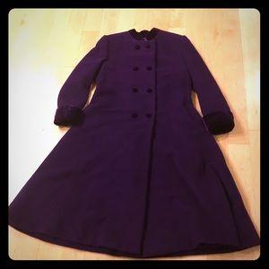 Vintage purple coat with velvet cuffs size XL