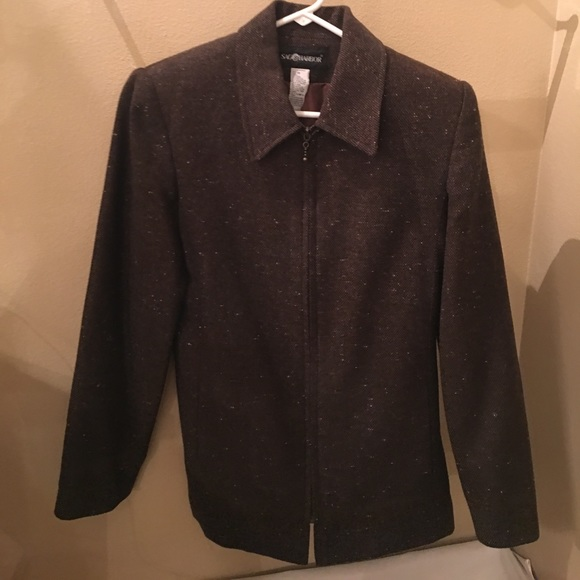 Sag Harbor Jackets & Blazers - Brown tweed zip up blazer