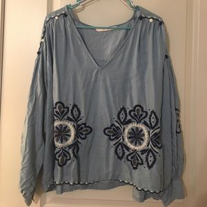 Zara denim blouse with embroidered flowers
