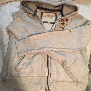 Abercrombie & Fitch grey zip up sweater with hood