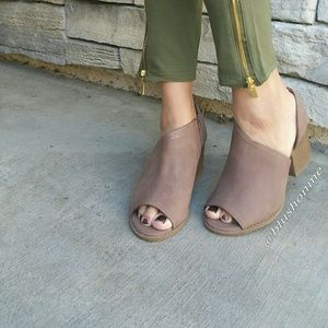 Shoes - Peep Toe Ankle Cut Out Booties - Nutmeg