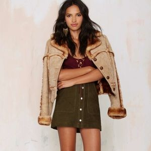 NASTY GAL Olive Green Suede High-Waist Snap Skirt