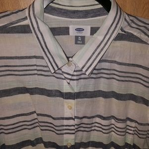 PRICE DROP Linen Blend Stripe Button Up