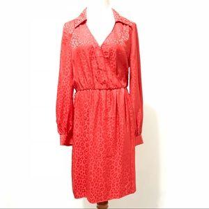 Trina Turk Size 8 Wrap Dress Red Animal Office Sun