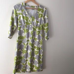 Boden 100% silk ginkgo print LS dress