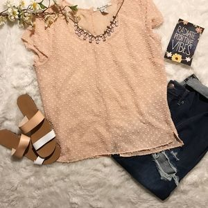 American Rag Blush Pink Blouse With Bow Detailing