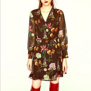 Zara printed mini wrap dress