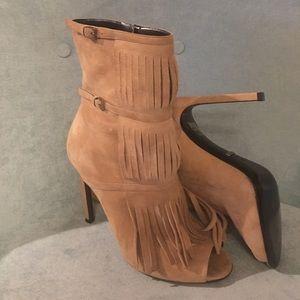Gucci peep toe fringe suede booties
