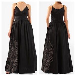 Eshakti Feather Print Dupioni Dress