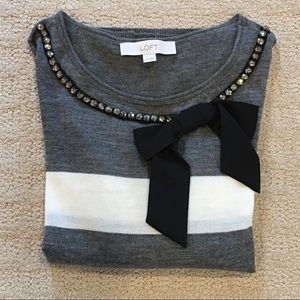 Ann Taylor Loft striped bow sweater embellished XS