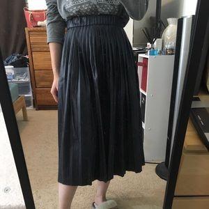 zara navy faux leather skirt size xs