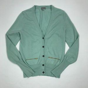 J. Crew 100% Cashmere Blue/Green Cardigan Sz L