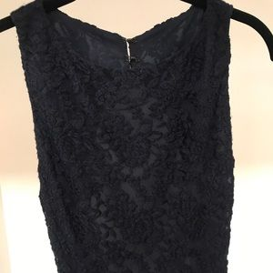 Alice and Olivia navy lace gown open back