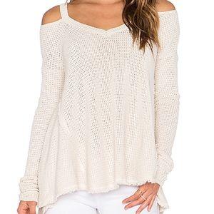 V-Neck Cold Shoulder Waffle Knit Sweater Pullover