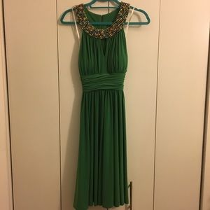 Suzi Chin green dress w/beading